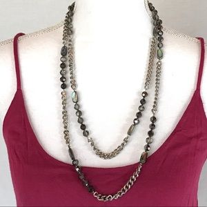 NWOT Cookie Lee Abalone Silver Long Chain Necklace